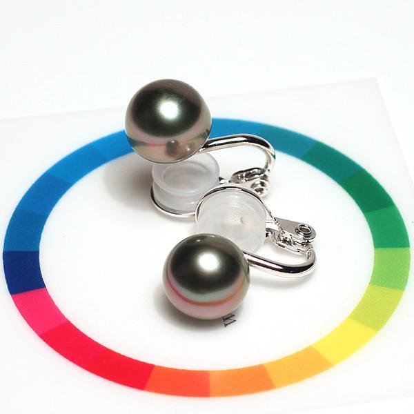 ブラックパールイヤリング タヒチ黒真珠9.9mm微調整できるシルバー製ソフトタッチイヤリング|wizem|02