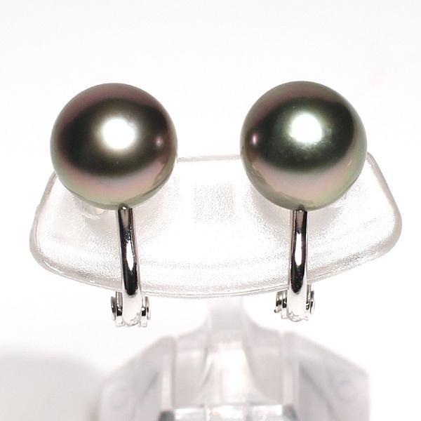 ブラックパールイヤリング タヒチ黒真珠9.9mm微調整できるシルバー製ソフトタッチイヤリング|wizem|03