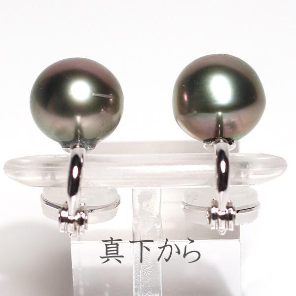 ブラックパールイヤリング タヒチ黒真珠9.9mm微調整できるシルバー製ソフトタッチイヤリング|wizem|05