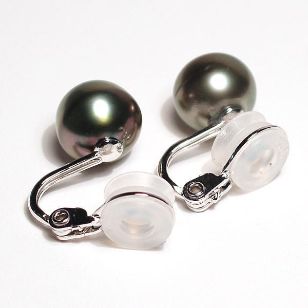 ブラックパールイヤリング タヒチ黒真珠9.9mm微調整できるシルバー製ソフトタッチイヤリング|wizem|06