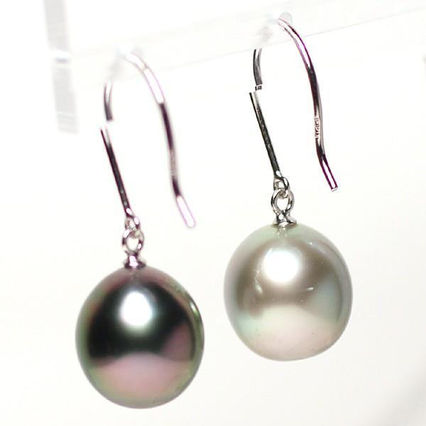 ブラックパールピアス 黒蝶真珠オーバル形幅10.2mm縦11.2mmUP14WGつりばり型フックピアス 色違う楽しさ 大きさもほんの少し違い|wizem|04
