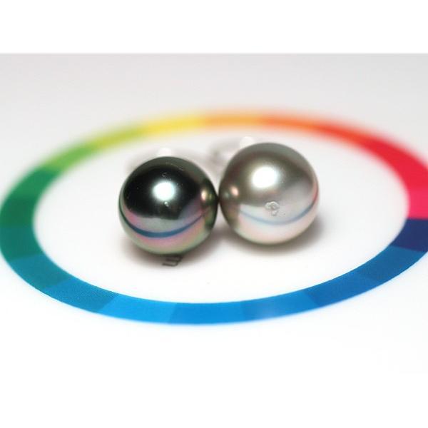 ブラックパールピアス 黒蝶真珠オーバル形幅10.2mm縦11.2mmUP14WGつりばり型フックピアス 色違う楽しさ 大きさもほんの少し違い|wizem|06
