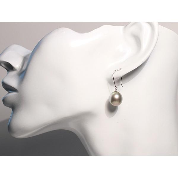 ブラックパールピアス 黒蝶真珠オーバル形幅10.2mm縦11.2mmUP14WGつりばり型フックピアス 色違う楽しさ 大きさもほんの少し違い|wizem|08