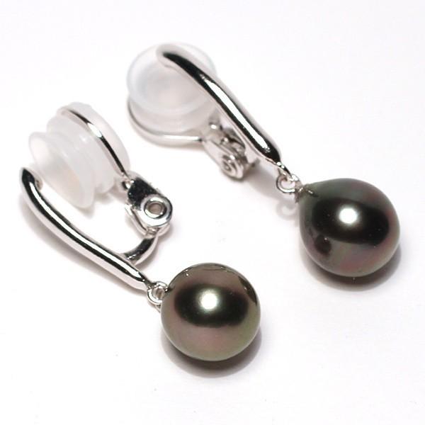 ブラックパールイヤリング黒蝶真珠幅8.2mm縦9.3mmSILVERソフトタッチ式訳あり価格|wizem|02