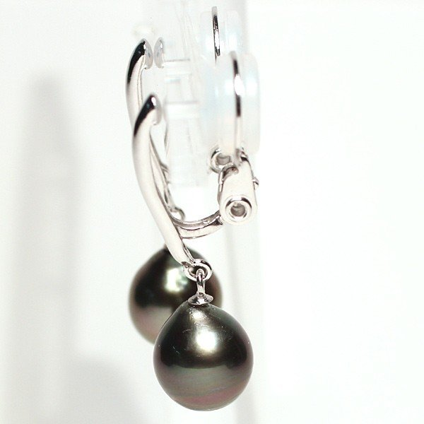 ブラックパールイヤリング黒蝶真珠幅8.2mm縦9.3mmSILVERソフトタッチ式訳あり価格|wizem|04