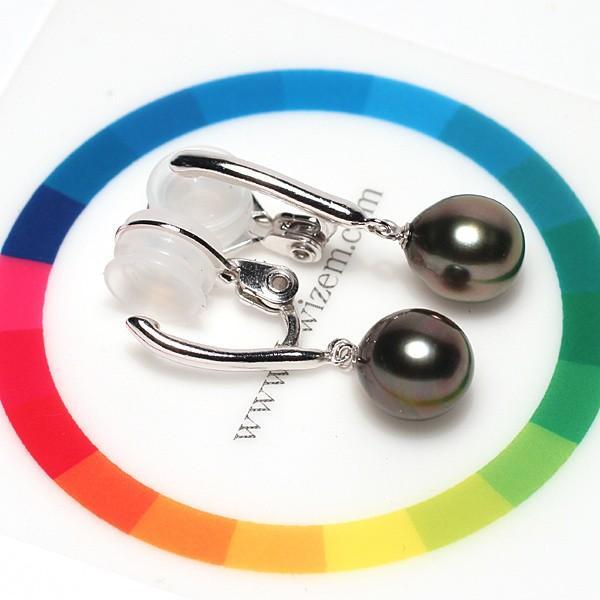 ブラックパールイヤリング黒蝶真珠幅8.2mm縦9.3mmSILVERソフトタッチ式訳あり価格|wizem|06