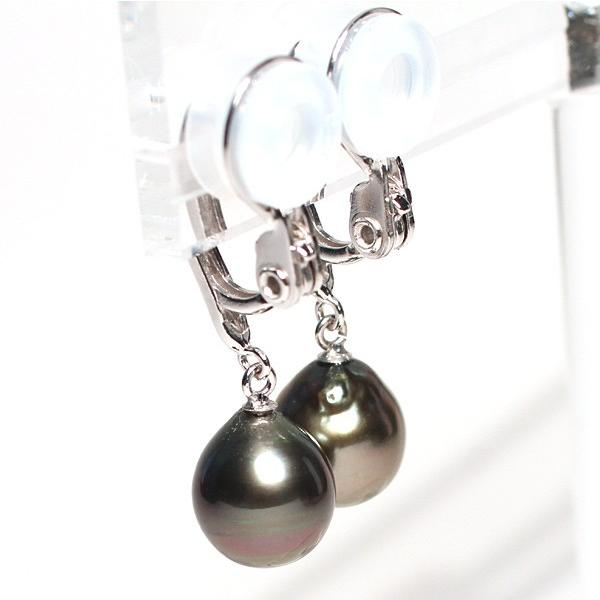 ブラックパールイヤリング黒蝶真珠幅8.2mm縦9.3mmSILVERソフトタッチ式訳あり価格|wizem|07