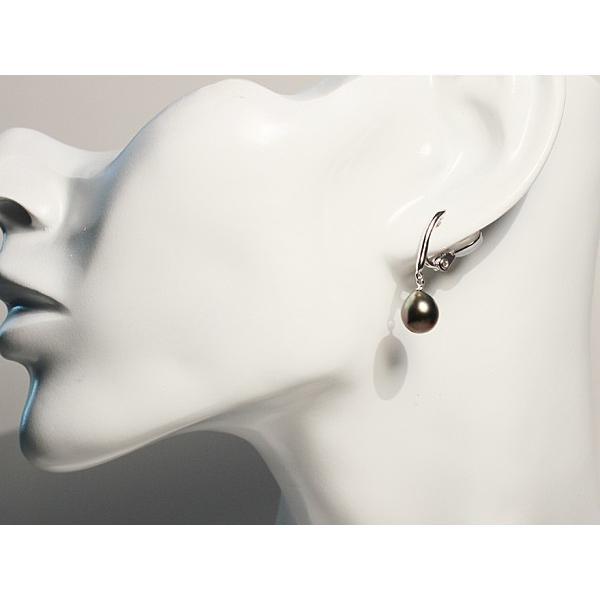 ブラックパールイヤリング黒蝶真珠幅8.2mm縦9.3mmSILVERソフトタッチ式訳あり価格|wizem|08