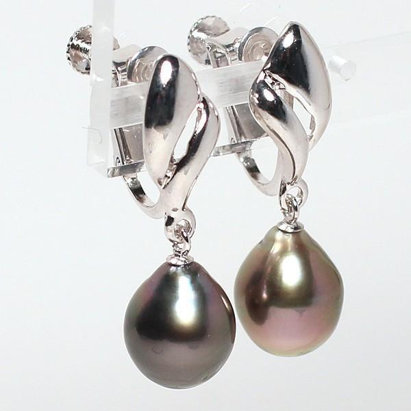 ブラックパールルース黒蝶真珠2珠 幅8.3mm縦10.2mm少々いびつなドロップ形片穴あき 材料選べる送料360円|wizem|02
