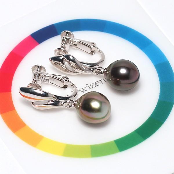 ブラックパールイヤリング黒蝶真珠幅8.3mm縦10.2mm少々いびつなドロップ形ネジバネ式イヤリング|wizem|05