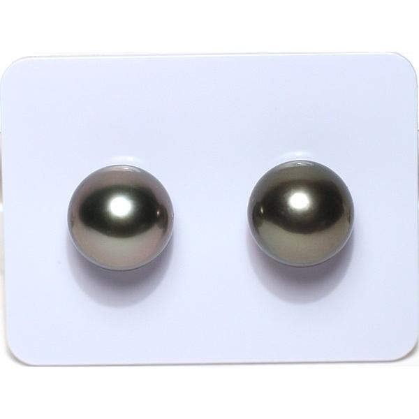 ブラックパールペアルース 黒蝶真珠直径10.1mm2珠 片穴あき wizem