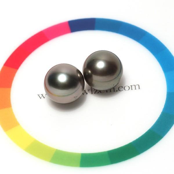 ブラックパールペアルース 黒蝶真珠直径10.1mm2珠 片穴あき wizem 05