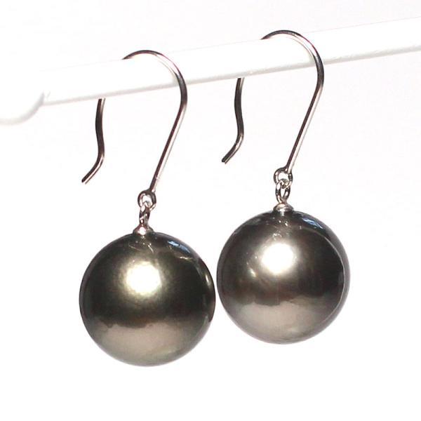 ブラックパールルース黒蝶真珠直径12.2mm2珠真珠表面に肌荒れあり|wizem