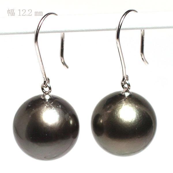 ブラックパールルース黒蝶真珠直径12.2mm2珠真珠表面に肌荒れあり|wizem|02