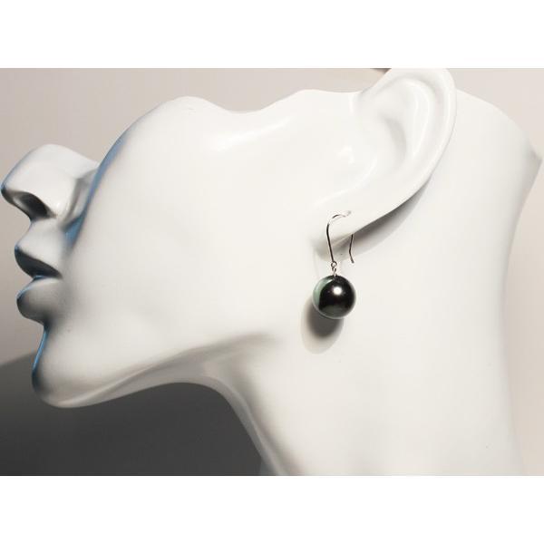 ブラックパールピアス黒蝶真珠直径12mmフックピアスつりばり型ホワイトゴールドピアスK14WG|wizem|08