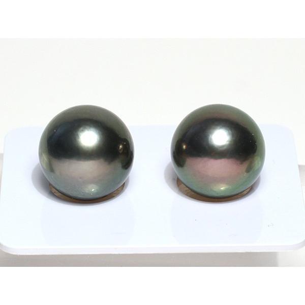 ブラックパールルース黒蝶真珠直径12.5mm2珠 テリ良い真珠表面に肌荒れあり|wizem