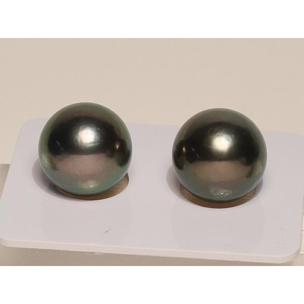 ブラックパールルース黒蝶真珠直径12.5mm2珠 テリ良い真珠表面に肌荒れあり|wizem|02