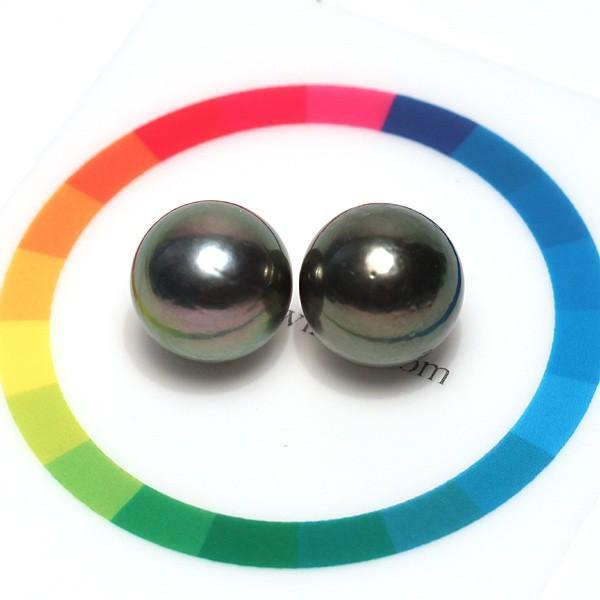 ブラックパールルース黒蝶真珠直径12.5mm2珠 テリ良い真珠表面に肌荒れあり|wizem|03
