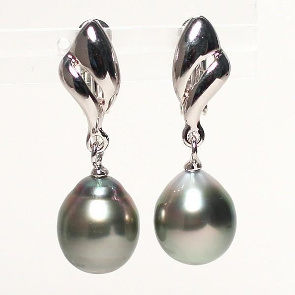 ブラックパールルース黒蝶真珠2珠 幅9.4mm縦11mm少々いびつなドロップ形片穴あき 材料|wizem