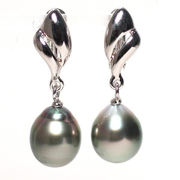 ブラックパールルース黒蝶真珠2珠 幅9.4mm縦11mm少々いびつなドロップ形片穴あき 材料|wizem|02