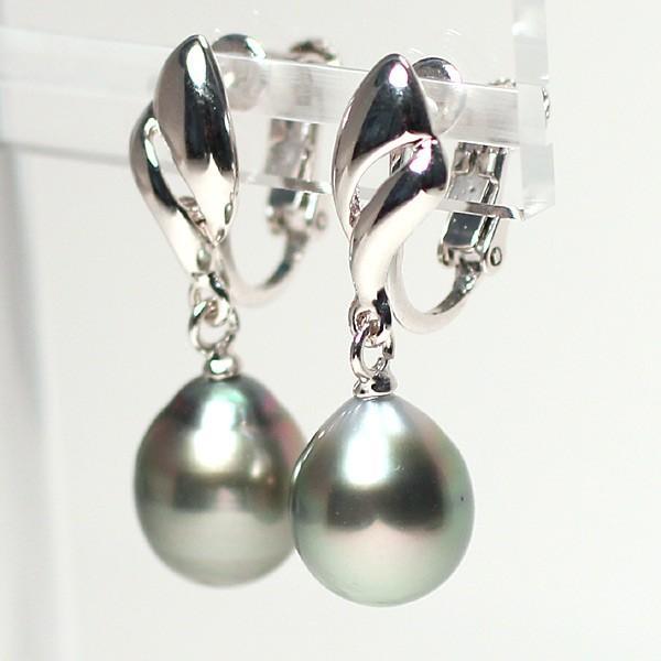 ブラックパールルース黒蝶真珠2珠 幅9.4mm縦11mm少々いびつなドロップ形片穴あき 材料|wizem|03