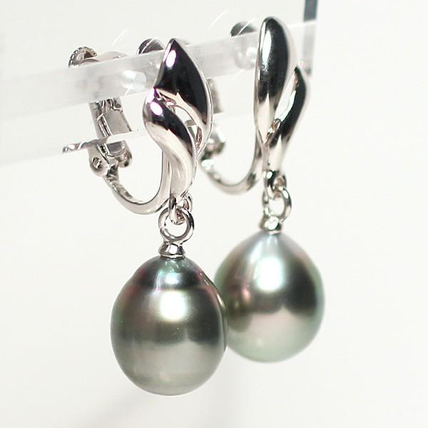 ブラックパールルース黒蝶真珠2珠 幅9.4mm縦11mm少々いびつなドロップ形片穴あき 材料|wizem|04