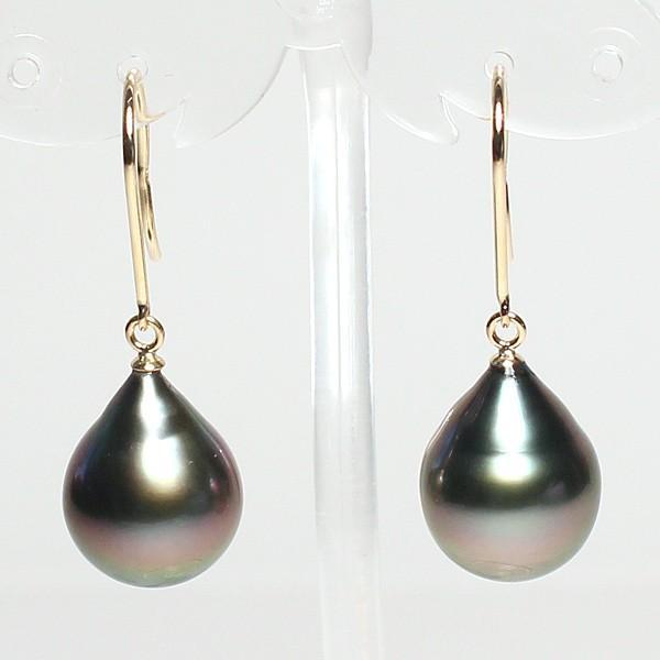 ブラックパールフックピアス黒蝶真珠幅10mm縦12.6mmUPつりばりLピアスK18イエローゴールド片方穴位置ずれあり|wizem