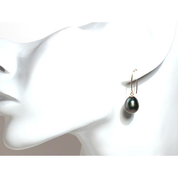 パールフックピアス黒蝶真珠幅10.3mmUP K18すっきりシャープリーフ形ピアス|wizem|05