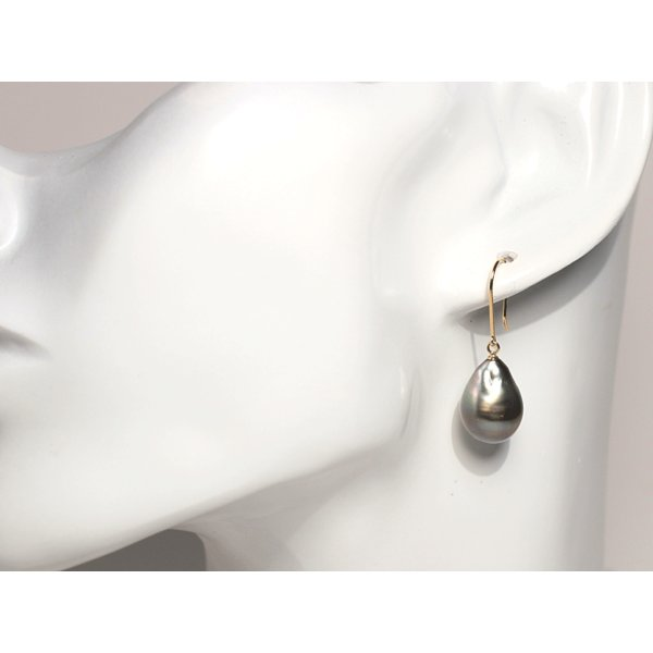 ブラックパールフックピアス黒蝶真珠バロック形最長15mmつりばり型LイエローゴールドフックピアスK18|wizem|05