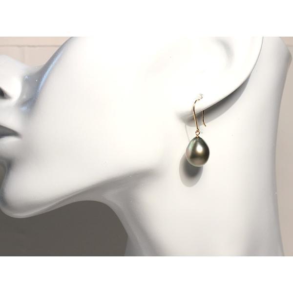 ブラックパールフックピアス黒蝶真珠バロック形最長15mmつりばり型LイエローゴールドフックピアスK18|wizem|06