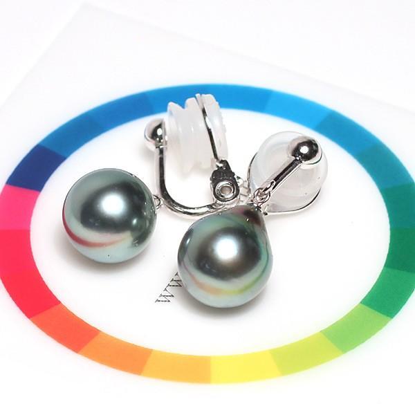 ブラックパールイヤリング ブルー系色の黒蝶真珠テリ良い幅10.2mm縦11.5mmドロップ形SILVERソフトタッチイヤリングブラ下がり微調整可|wizem|05