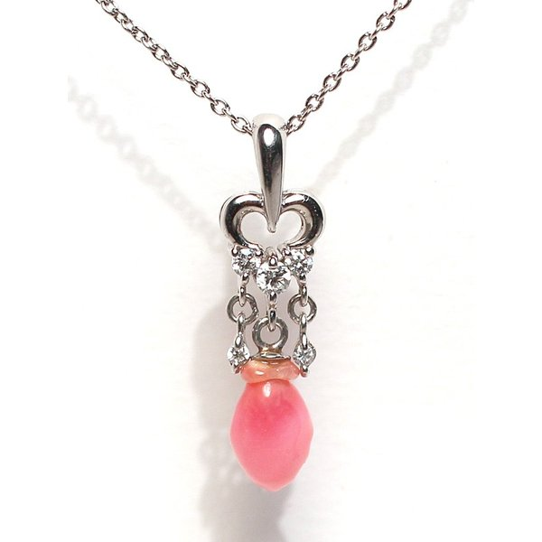 天然真珠ならではのバロック形コンクパール0.84ctプラチナダイヤペンダント 火炎模様 縦約20.5mm×5.7mm|wizem|05