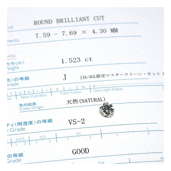 ダイヤモンドルース1.523ct 中央宝研鑑定書付 JカラーVS2 GOODラウンドブリリアンカット 大粒ダイヤ wizem 04