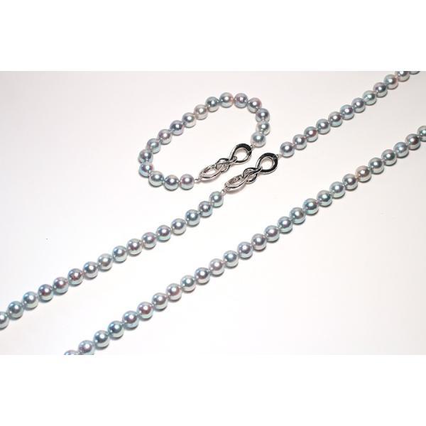 ナチュラル色アコヤ真珠ロングネックレス8-8.5mmブルー系バロック形ブレスレットとセット/すべてつなげて最長93cmロングにもできるコンバーチブルタイプ|wizem|02