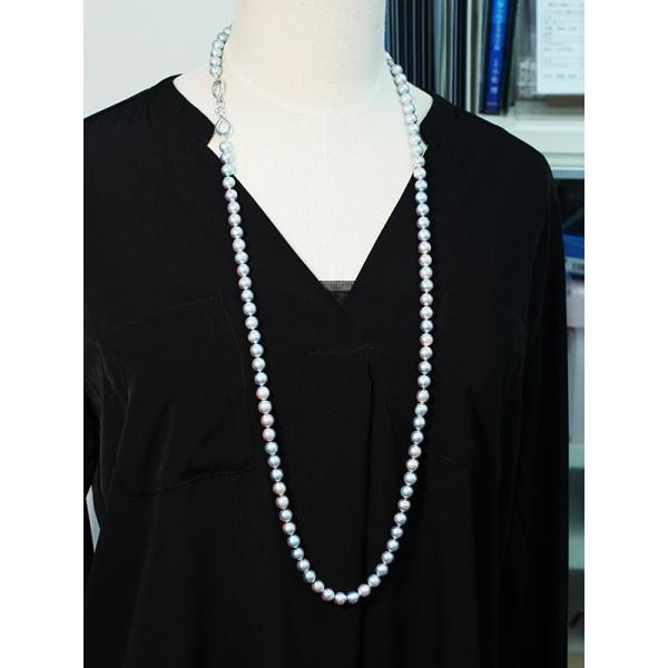 ナチュラル色アコヤ真珠ロングネックレス8-8.5mmブルー系バロック形ブレスレットとセット/すべてつなげて最長93cmロングにもできるコンバーチブルタイプ|wizem|03