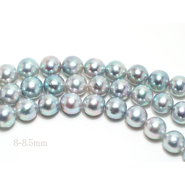 ナチュラル色アコヤ真珠ロングネックレス8-8.5mmブルー系バロック形ブレスレットとセット/すべてつなげて最長93cmロングにもできるコンバーチブルタイプ|wizem|05