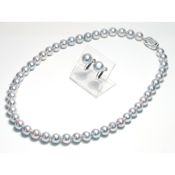 パールネックレス ナチュラルブルー色アコヤ真珠8.5-9mmネックレス&10mmUPイヤリング|wizem