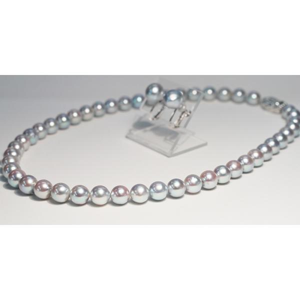 パールネックレス ナチュラルブルー色アコヤ真珠8.5-9mmネックレス&10mmUPイヤリング|wizem|02