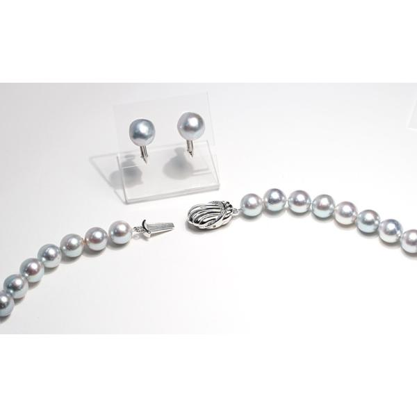 パールネックレス ナチュラルブルー色アコヤ真珠8.5-9mmネックレス&10mmUPイヤリング|wizem|03