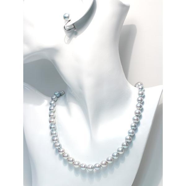 パールネックレス ナチュラルブルー色アコヤ真珠8.5-9mmネックレス&10mmUPイヤリング|wizem|05