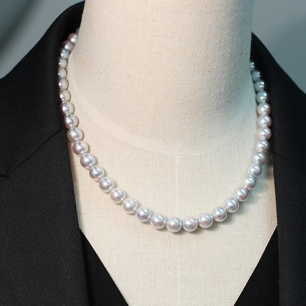 パールネックレス ナチュラルブルー色アコヤ真珠8.5-9mmネックレス&10mmUPイヤリング|wizem|06