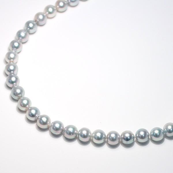 パールネックレス ナチュラルブルー色アコヤ真珠8.5-9mmネックレスSVクラスプ43.5cm wizem