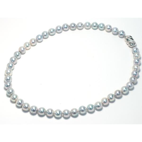 パールネックレス ナチュラルブルー色アコヤ真珠8.5-9mmネックレスSVクラスプ43.5cm wizem 02