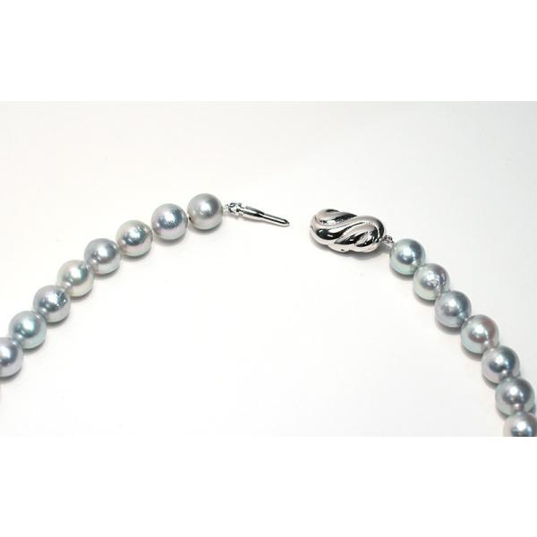 パールネックレス ナチュラルブルー色アコヤ真珠8.5-9mmネックレスSVクラスプ43.5cm|wizem|03