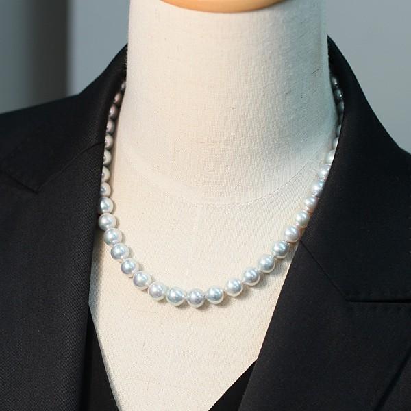 パールネックレス ナチュラルブルー色アコヤ真珠8.5-9mmネックレスSVクラスプ43.5cm|wizem|05