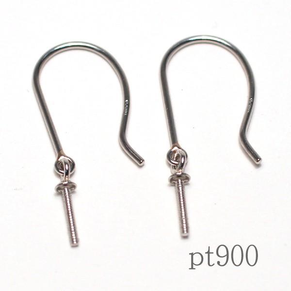 フックピアス金具 パール用 つりばり型 Lサイズつきさし付pt900プラチナ|wizem