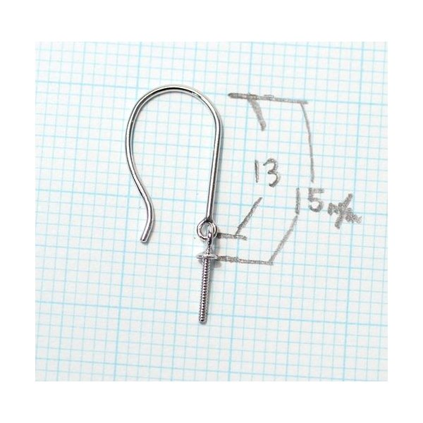 フックピアス金具 パール用 つりばり型 Lサイズつきさし付pt900プラチナ|wizem|03