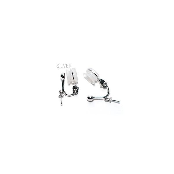 ブラ下がりイヤリング シルバー製ソフトタッチ式M パール用 イヤリング金具|wizem