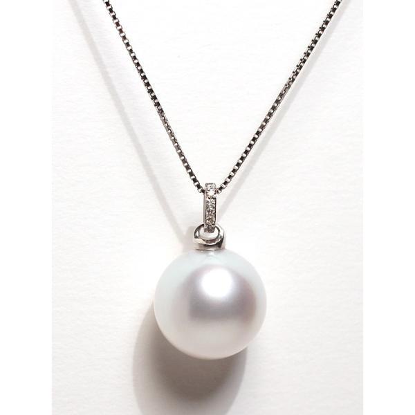 白蝶真珠パールペンダント直径13.3mmプラチナダイヤ0.03ct|wizem|02