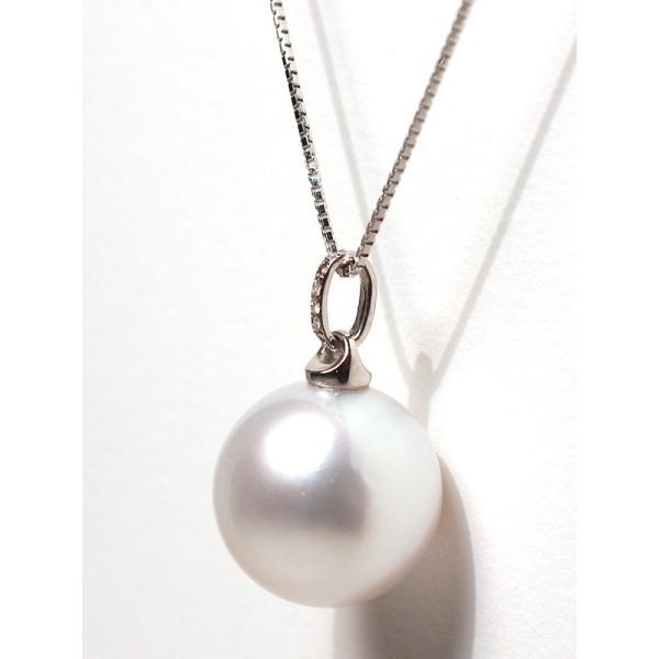 白蝶真珠パールペンダント直径13.3mmプラチナダイヤ0.03ct|wizem|03